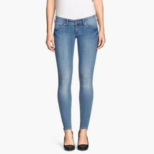 H&M Super Skinny Super Low Waist Blue Jeans